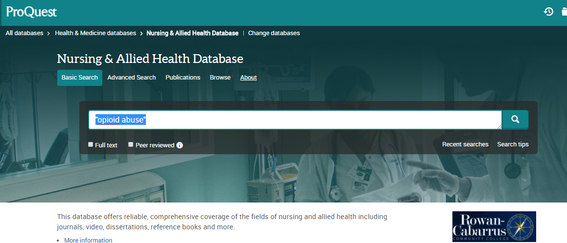 image of search bar of nursing and allied health database