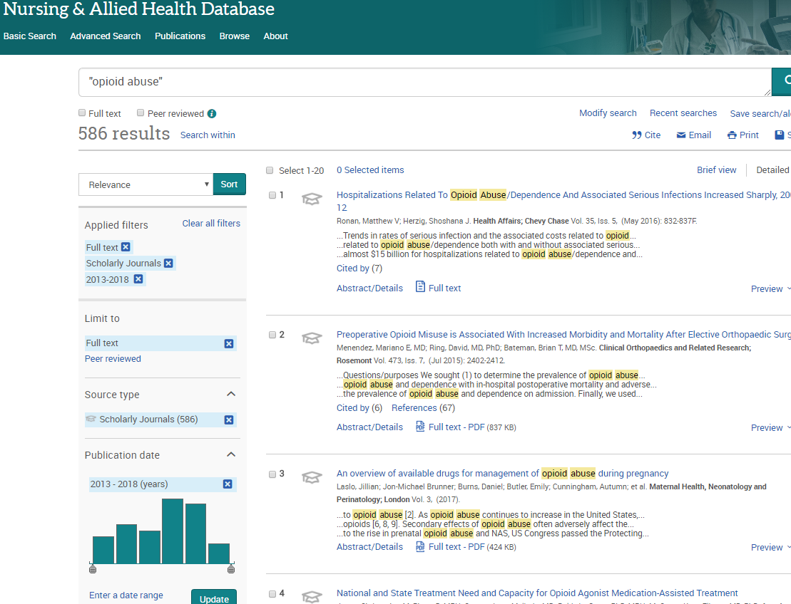 image of search results with filters in nursing and allied health
