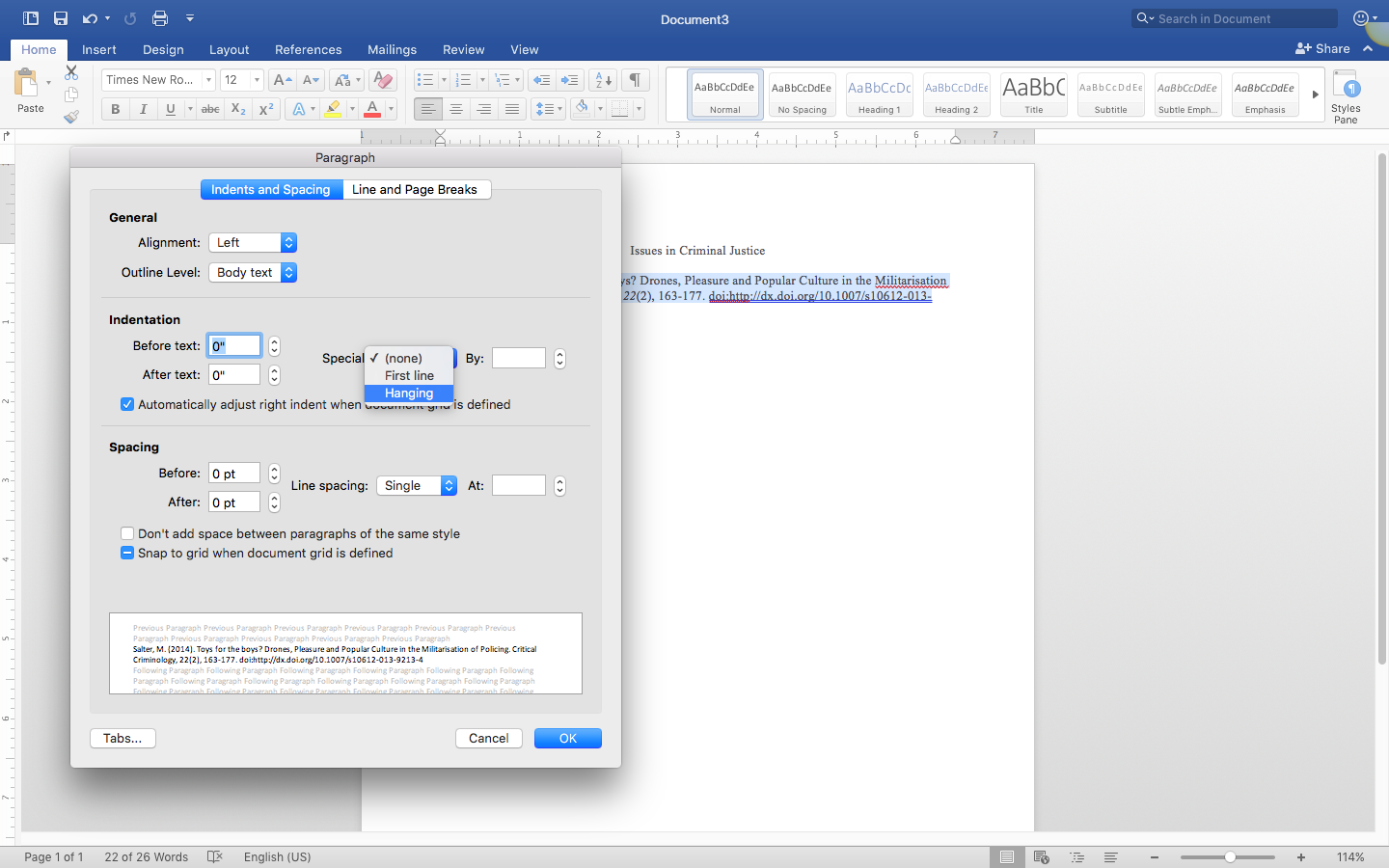 Screenshot of formatting paragraph in word