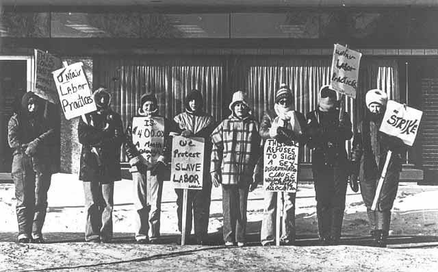 Willmar 8, striking bank employees in Willmar. 1977.