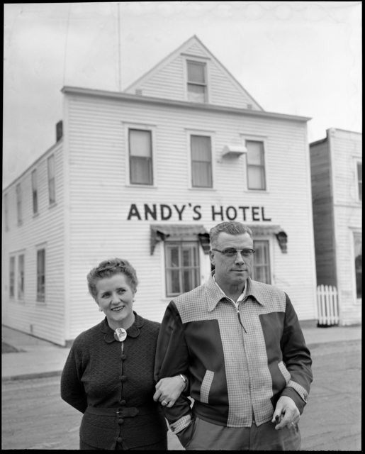 Coya Knutson and husband Andrew, Oklee, MN. November 26, 1954.