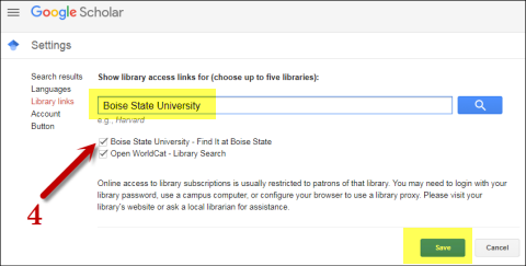 Screenshot of Boise State University library links setup