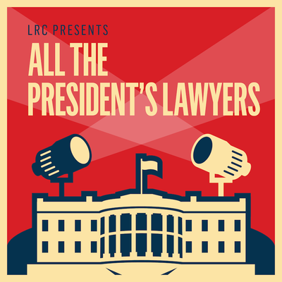 podcast logo - graphic of White House with two spotlights on top