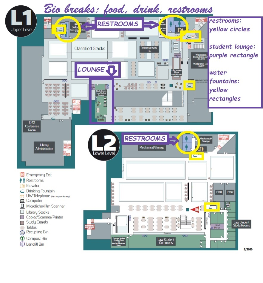 Floor plans showing restrooms, water fountains, and Student Lounge