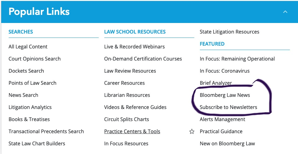 Bloomberg Law snip showing links to newsletters
