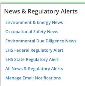 Bloomberg Law screen snip - News & Regulatory Alerts