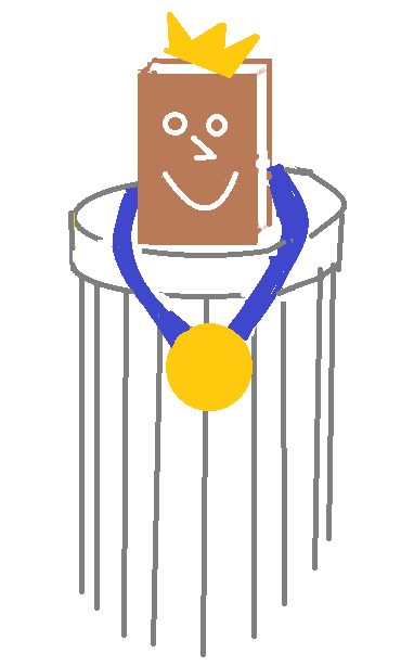 Cartoon of book on pedestal, wearing a gold medal