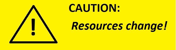 Caution: Resources change! (Caution sign)