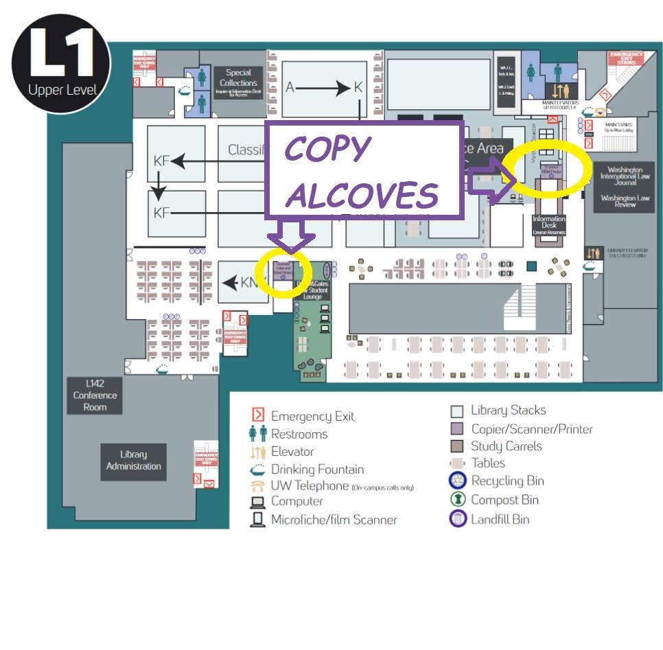 floor plan showing copy alcoves on Floor L1