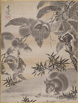 Japanese painting squirrels gathering chestnuts