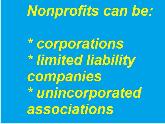 colored box with text - nonprofits can be: corporations; limited liability companies, unincorporated associations