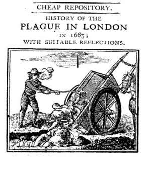 Plague in London woodcut of corpses being pulled from cart