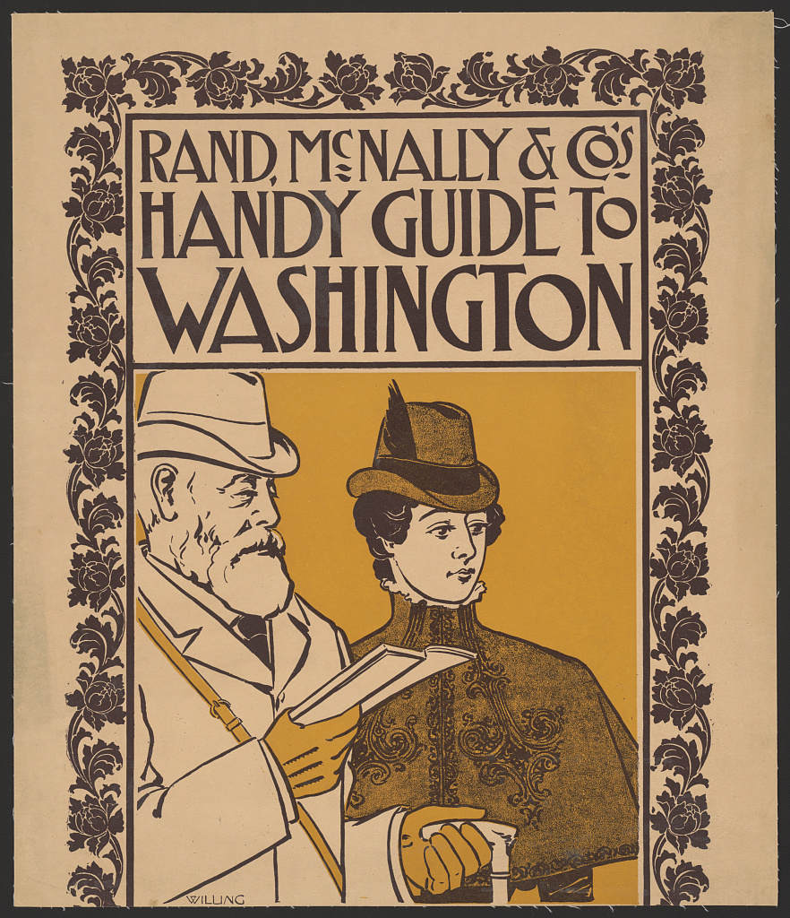 Poster shows a finely dressed man and woman, possibly tourists, standing together; the man is holding a book.