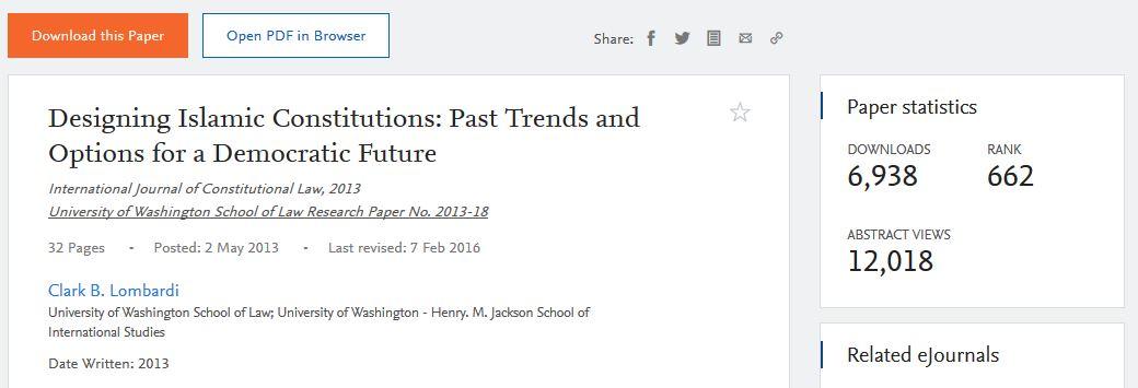 screen snip Designing Islamic Constitutions metrics