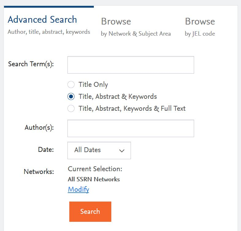 screen snip SSRN Advanced Search box