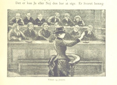 sketch of woman in long dress in front of 12 male jurors