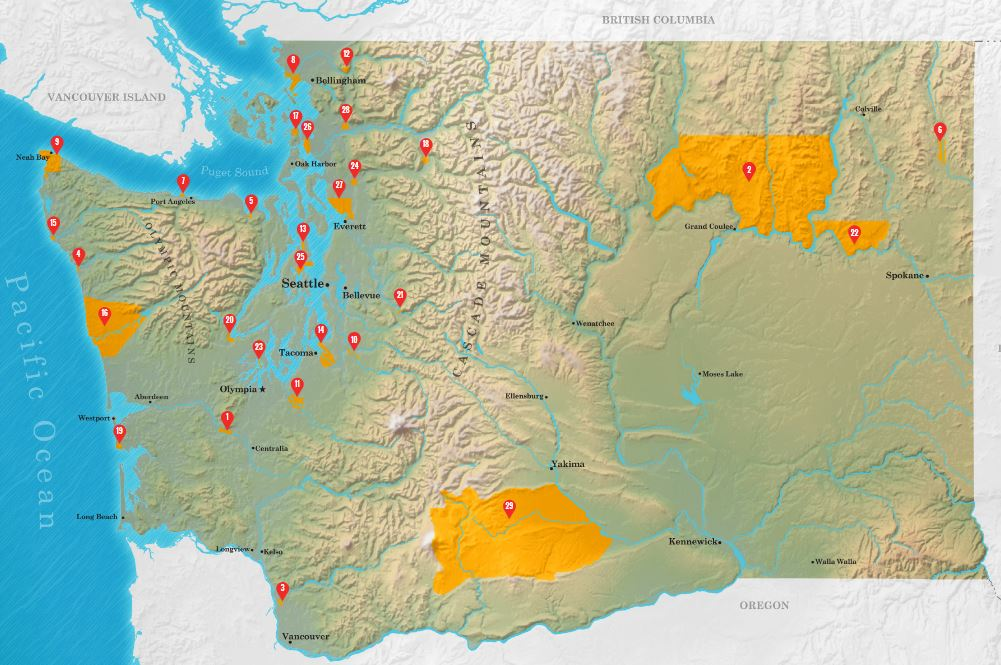 Map of Washington Tribes