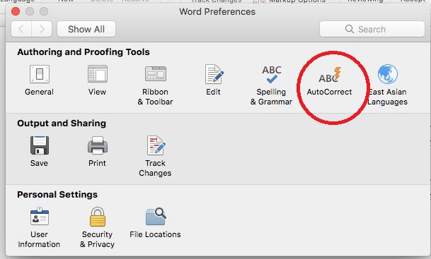 screen snip Word Preferences in Mac