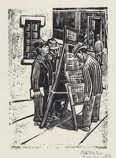 Zalce woodcut newspaper stand