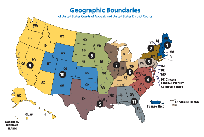 map of federal circuits showing states and districts
