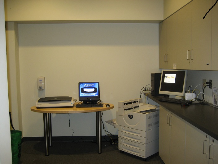 photo of copy alcove with scanner and printer