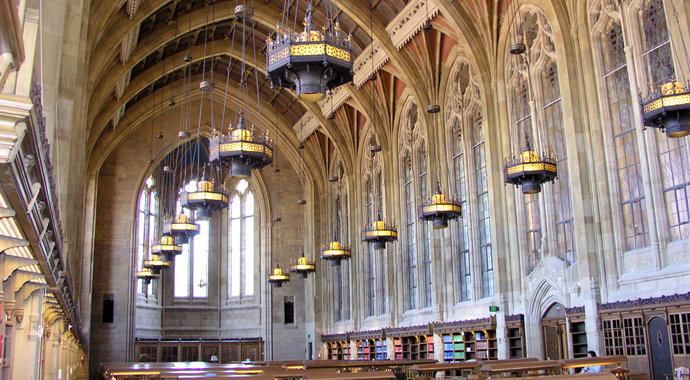 Reading Room, Suzzallo library - long view, gothic arches, hanging lamps