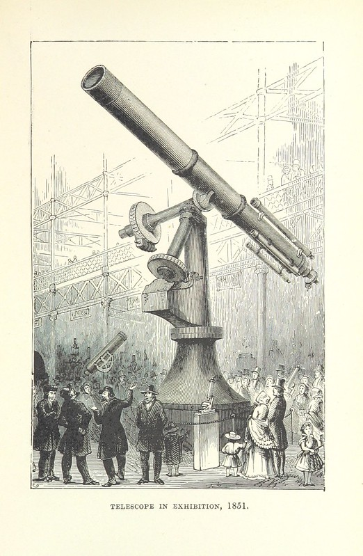 black & white etching of telescope and crowd