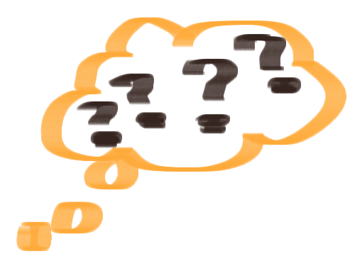thought bubble filled with question marks