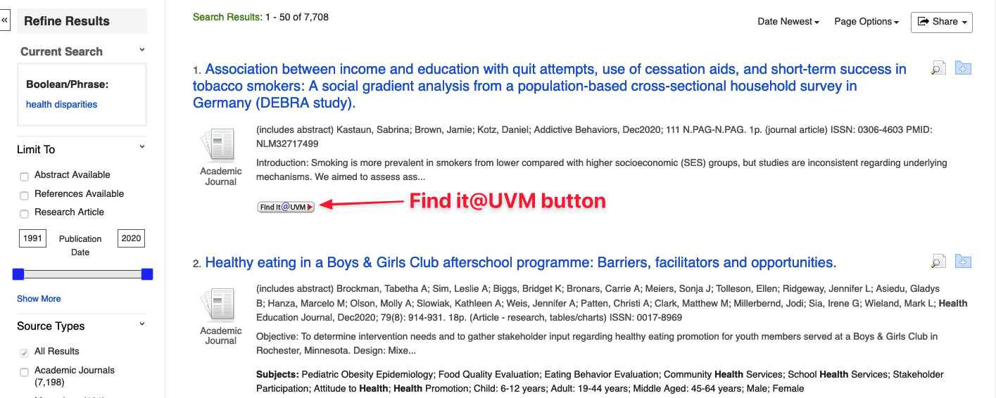 Location of Find it @ UVM button in CINAHL