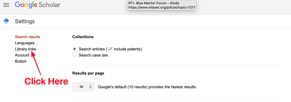 Location of library links button in Google Scholar