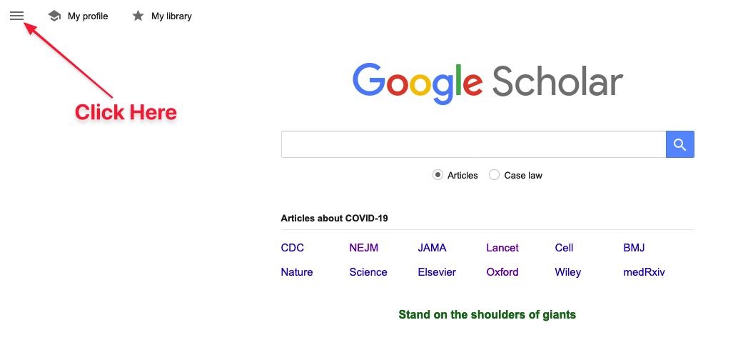 Location of menu icon in Google Scholar