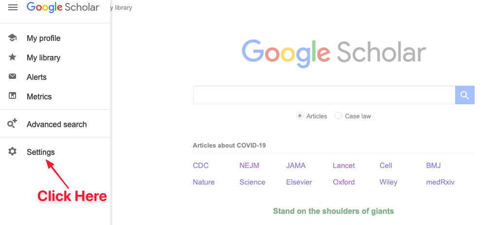 Location of settings icon in Google Scholar