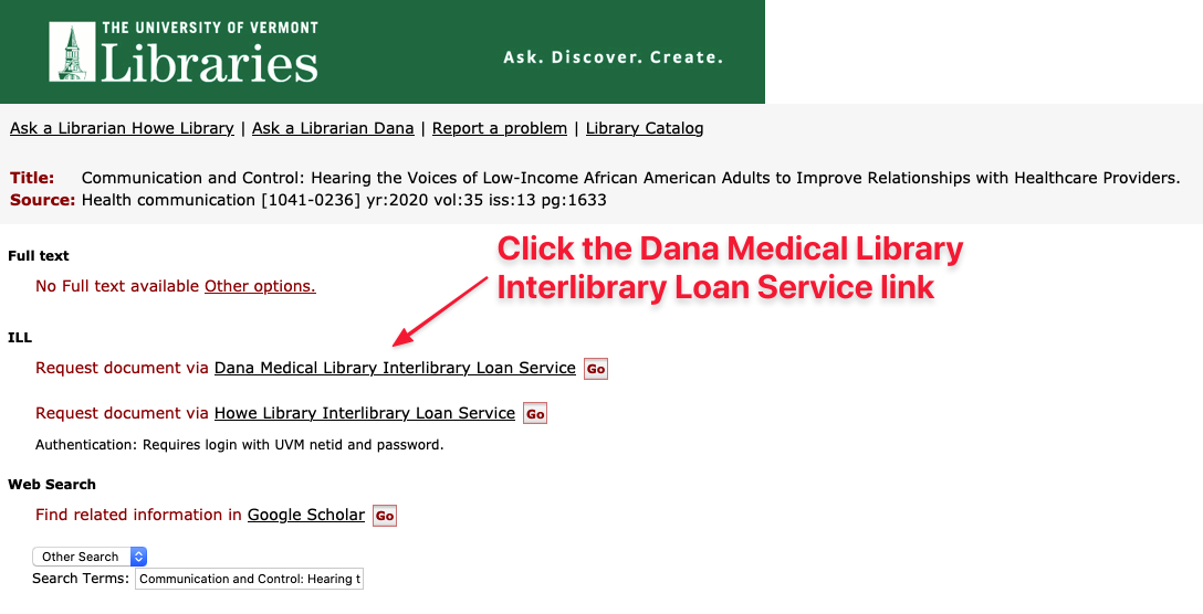 Dana Medical Library Link to Interlibary Loan Form
