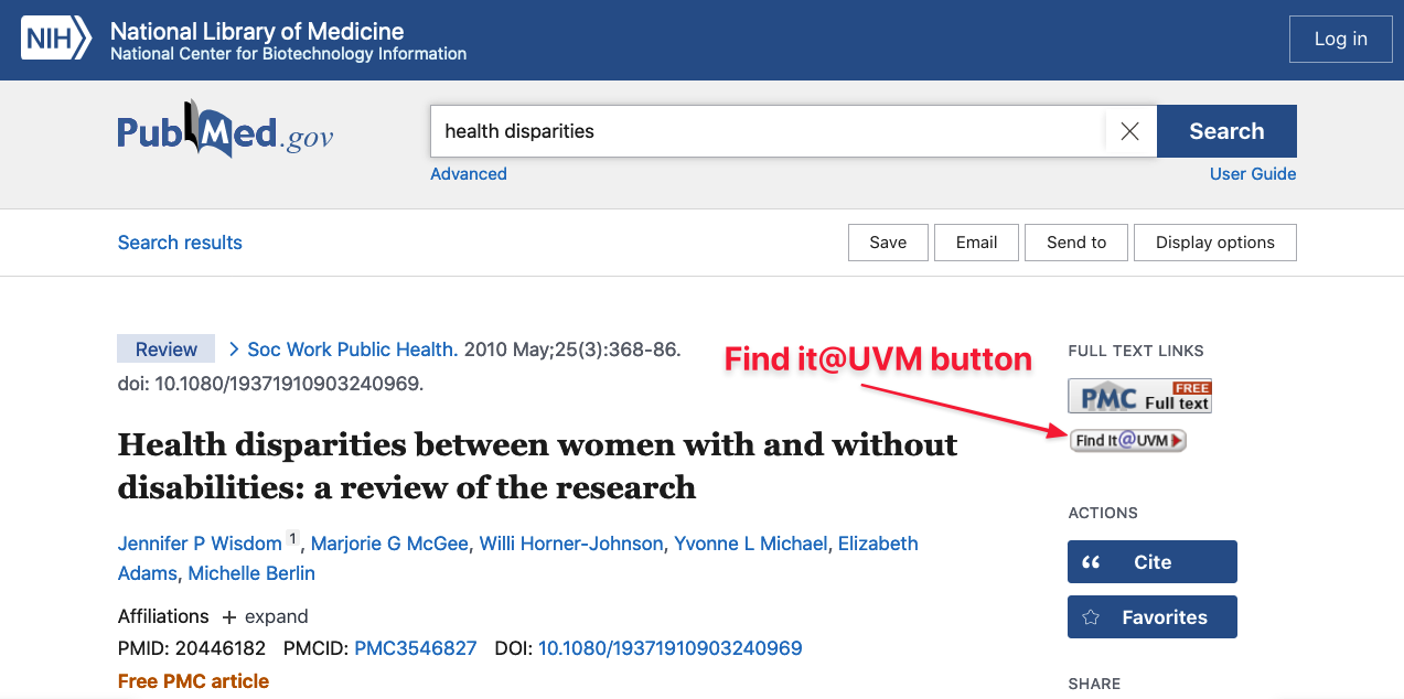 Location of Find it @ UVM button in PubMed