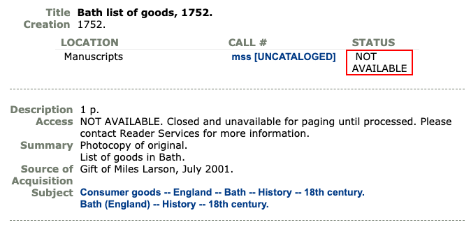 """Library catalog record showing """"Not Available"""" status for a manuscript item."""