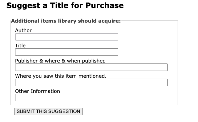 The Suggest a Purchase form in My Library Account.