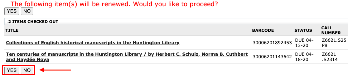 Confirm renewals in My Library.