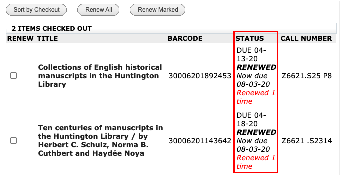 Successful status of book renewals in My Library.