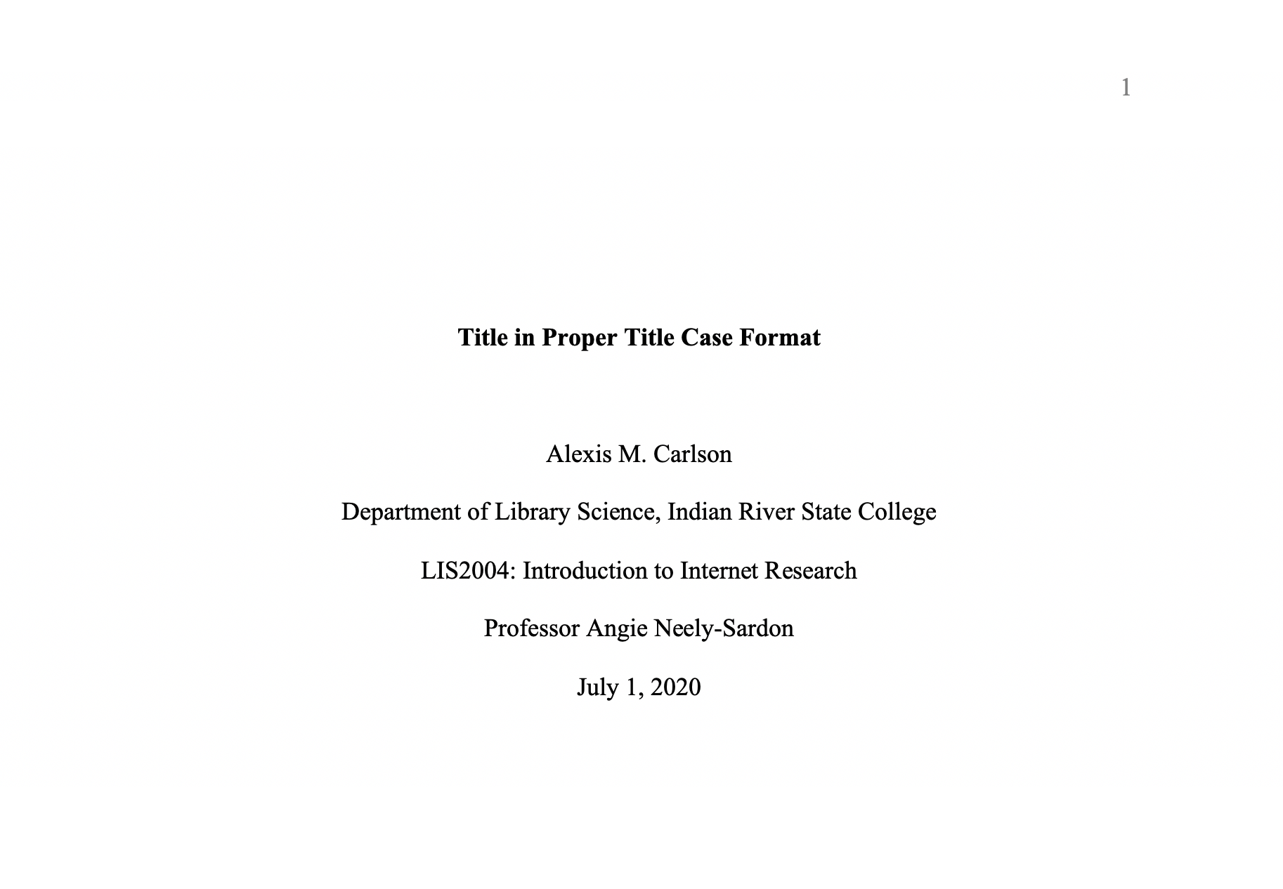 Example Title Page