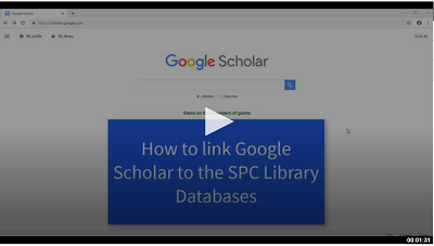 Video still for How to Link Google Scholar to SPC Library