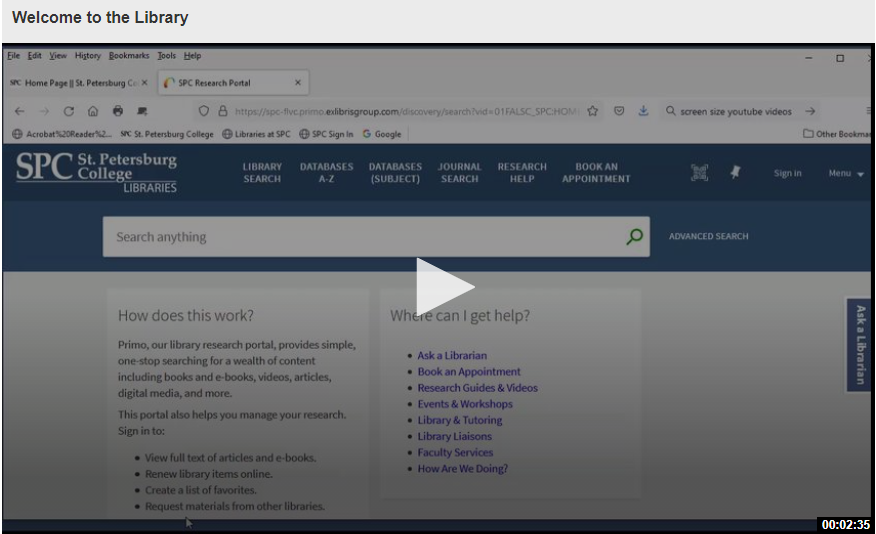 Welcome Page of SPC Library website