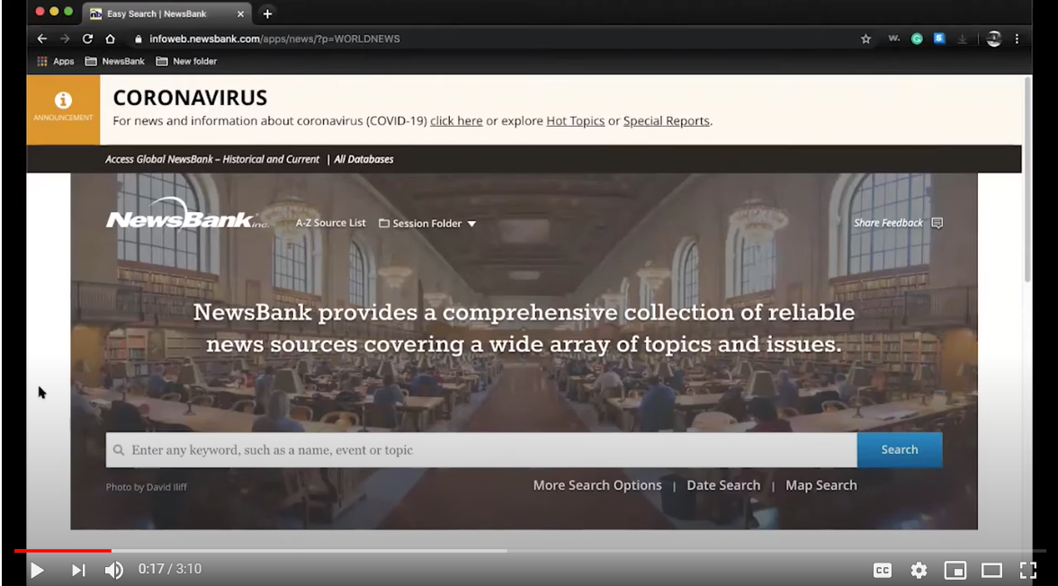 Newsbank search page