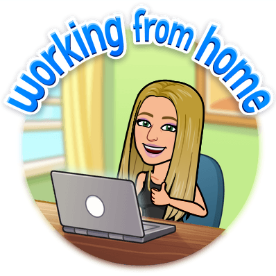 Image of bitmoji woman working from home with laptop