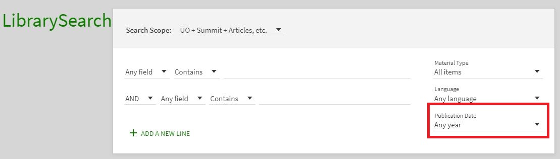 Advanced search by publication date