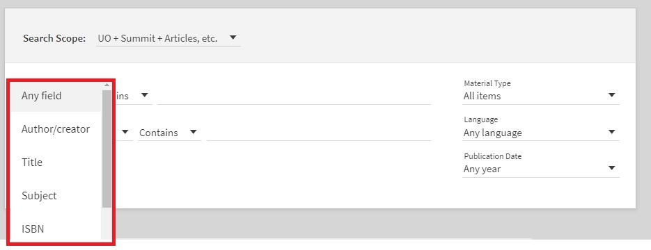 LibrarySearch advanced search options