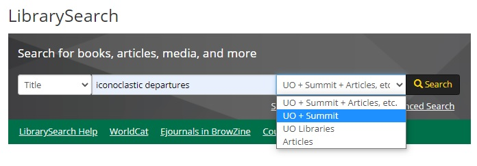 LibrarySearch book title search example in UO and Summit