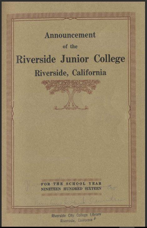 1916 Riverside City College Catalog