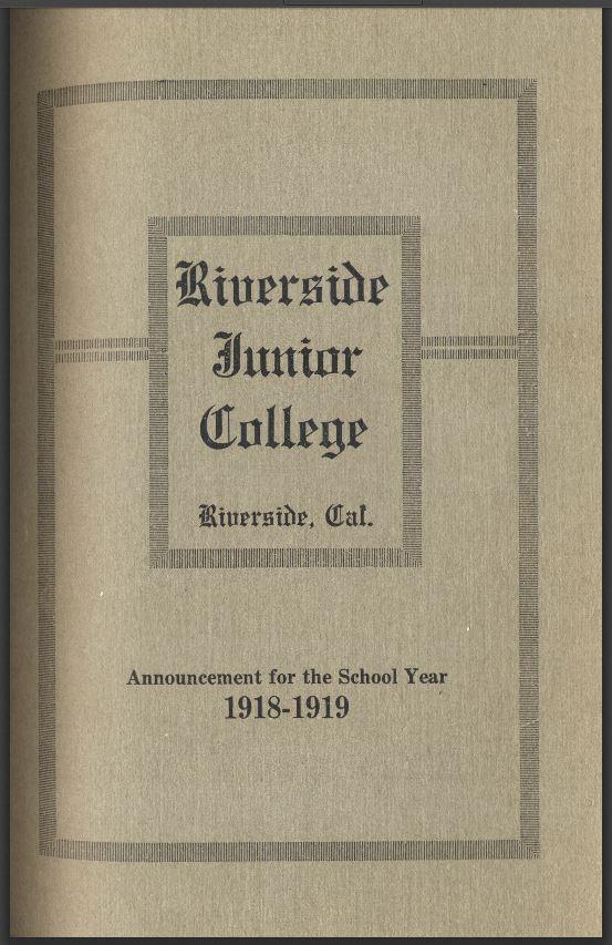 1918-1919 Riverside City College Catalog