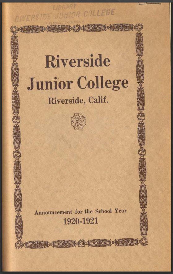 1920-1921 Riverside City College Catalog