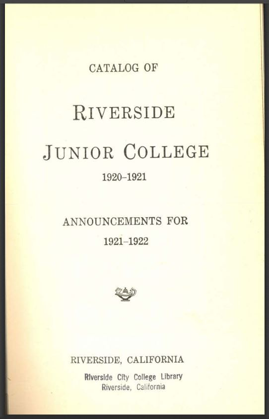 1921-1922 Riverside City College Catalog